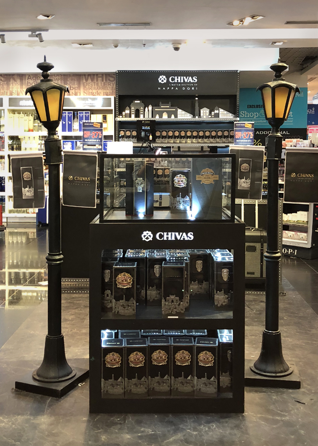Chivas Regal Tin Packs exhibited at the IGI Airport